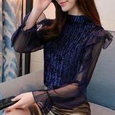春秋新款韓版女士洋氣小衫時尚長袖蕾絲打底衫雪紡衫襯衫百搭 卡布奇諾