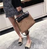 歐美時尚2019新款女包復古公文包潮手提包百搭單肩斜挎公事包LXY1803【彩虹之家】