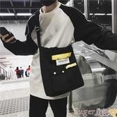 帆布包手提帆布包環保購物袋側背包日系文藝男女簡約原創韓版百搭斜背包 交換禮物