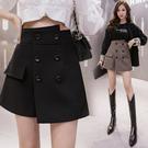 半身裙~短褲裙韓版雙排扣半身裙高腰闊腿包臀短褲靴褲N195A快時尚