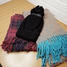 柔軟 寬版圍巾 格紋 混色 流蘇 長款 圍巾 披肩 仿羊绒 大方巾 毛線帽 毛球帽
