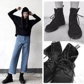 原宿風磨砂皮馬丁靴女夏季透氣英倫風系帶短靴平底圓頭新單靴