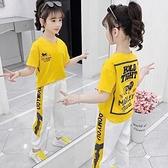 女童運動套裝 女童夏季套裝2021新款洋氣兒童夏裝運動兩件套女孩短袖潮童裝 快速出貨