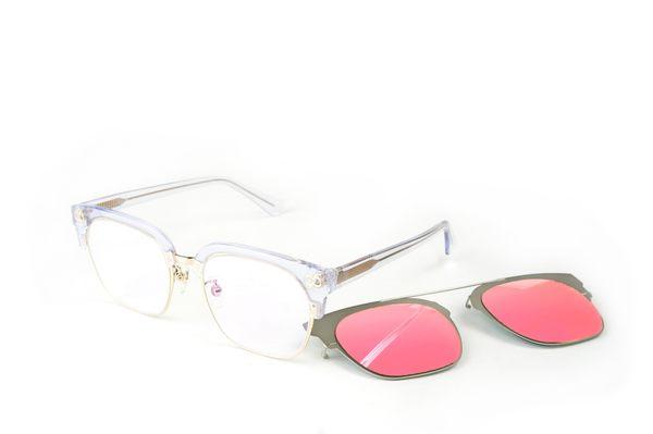 YuYu-ChangChiaYu 時尚太陽眼鏡 BEING 平光系列+ 前掛式太陽眼鏡- 透粉色(透明純淨)