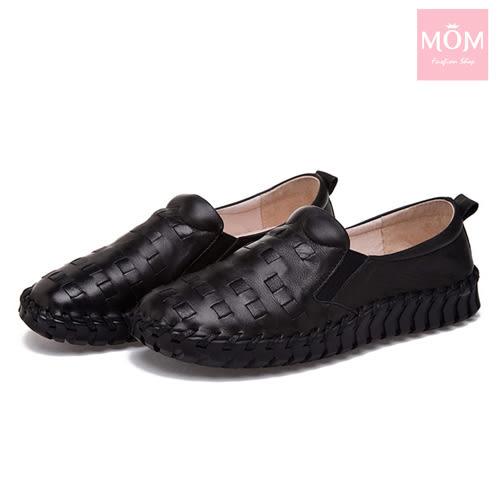 全真皮編織超厚軟底手工頭層牛皮舒適樂福鞋 黑 *MOM*