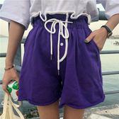 原宿休閒褲女短褲闊腿褲夏季新款純色運動褲學生韓版高腰熱褲子潮