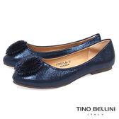 Tino Bellini 立體繁花舒足平底娃娃鞋_ 藍  F79003 網路限定款