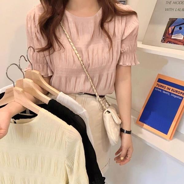 雪紡上衣 仙氣上衣夏季2021新款韓版時尚洋氣設計感小眾壓褶短袖雪紡衫女裝 霓裳細軟