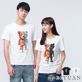 溫感變色 韓國製 【OBIYUAN】機械熊 情侶裝 大彈力 衣服 短袖t恤 上衣 2色【BBV351】