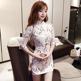 新年好禮 夜場女裝2018新款復古印花中袖收腰顯瘦包臀改良旗袍側開叉連身裙