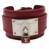LV 鎖頭造型紅色牛皮手環#17 【BRAND OFF】