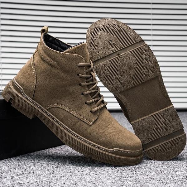 特謙2020年新款馬丁靴高幫男士秋冬透氣英倫潮流工裝靴子中幫男鞋 安雅家居館
