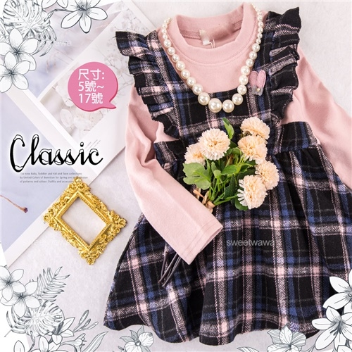 荷葉邊毛料格紋假兩件長袖洋裝-追加到貨(300140)【水娃娃時尚童裝】