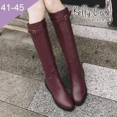 大尺碼女鞋-凱莉密碼-時尚簡約帥氣款側拉鍊平底騎士長靴3cm(41-45)【QI671-1】酒紅