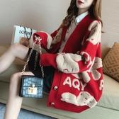 網紅慵懶風毛衣外套女秋季2021新款卡通學生針織開衫加厚外穿上衣 3C數位百貨