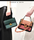 【2wenty6ix】新加坡正品 CHARLES&KEITH 時尚質感皮革 鍊條風琴手提包
