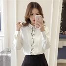 襯衫女設計感小眾2021新款韓版學院風可愛日系白色娃娃領長袖上衣 【開春特惠】