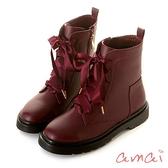 amai《半糖主義》甜美中性緞帶拉鍊軍靴 酒紅