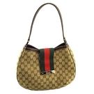 【奢華時尚】GUCCI 咖啡色雙G布料綠紅綠扣帶肩背HOBO包(九成新)#25190