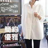 白襯衫--簡約優雅職場風顯瘦側邊衩片圓弧下襬長袖襯衫(白.黑XL-5L)-I101眼圈熊中大尺碼◎