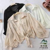 薄款防曬襯衫女夏季寬鬆蝙蝠開衫短款雪紡空調衫防曬外套【步行者戶外生活館】