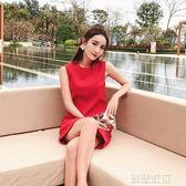 無袖直筒裙子女夏小個子高腰紅色連身裙女禮服裙  創想數位igo