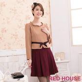 【RED HOUSE-蕾赫斯】荷葉領蝶結洋裝(共二色)