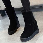 雪地靴女冬2019新款真皮百搭靴子女加絨棉鞋內增高短靴坡跟馬丁靴