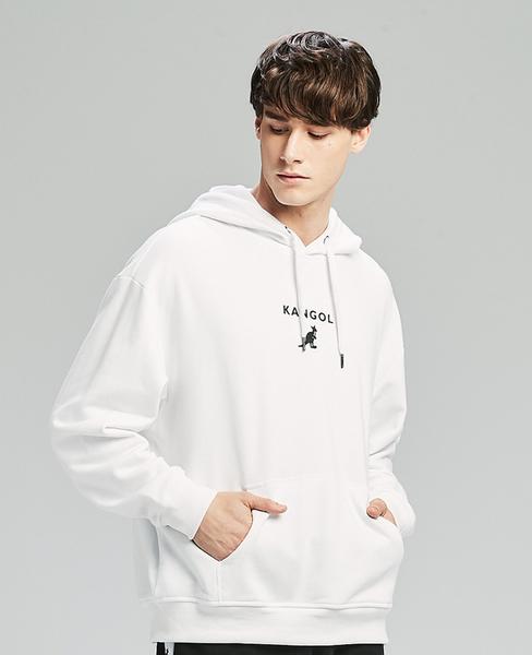 KANGOL-Oversize 經典LOGO寬鬆連帽上衣/帽T-男-白