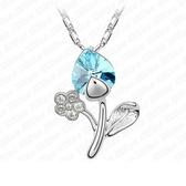 925純銀項鍊 水晶墜飾-可愛花朵生日情人節禮物女飾品9色73aj301【巴黎精品】