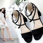 涼鞋夏季新款歐美 潮性感露趾綁帶簡約中低跟粗跟百搭羅馬 女涼鞋 印象部落