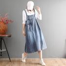 水洗磨白貼口袋牛仔吊帶裙洋裝連身裙中大尺碼 【96-26-880200802004-20】ibella 艾貝拉