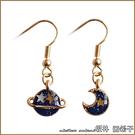 『坂井.亞希子』日本夢幻星空系列 夢幻藍星球月亮不對稱耳環
