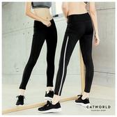 Catworld 側線條網紗彈力運動褲【12001872】‧S-XL