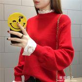 春秋冬紅色毛衣女套頭韓國寬鬆半高領針織衫拼接蕾絲假兩件毛線衣 完美情人精品館