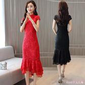 中大尺碼改良旗袍 短袖中長款蕾絲洋裝時尚魚尾紅色連身裙女夏裝裙子 DR22574【Rose中大尺碼】