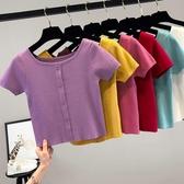 一字肩上衣夏季冰絲短袖T恤女裝一字肩紫色上衣服2020年新款針織衫短款體恤 雙11 伊蘿