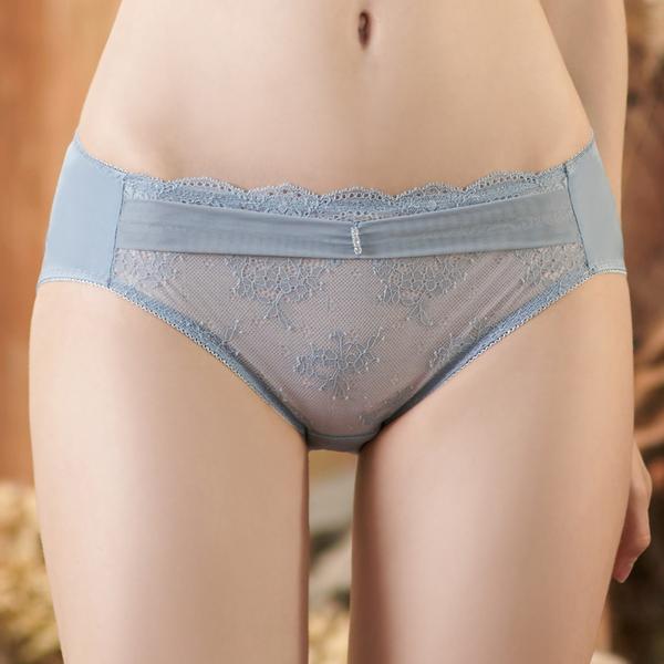 EASY SHOP-浪漫之森 中腰三角褲(灰藍色)
