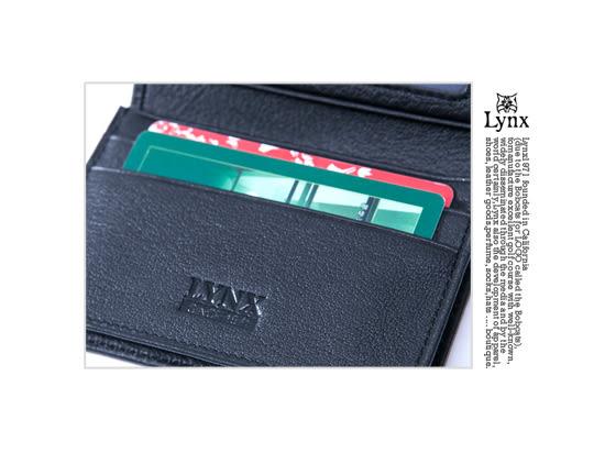 Lynx - 美國山貓紳士真皮款2卡1照名片夾-沉著黑
