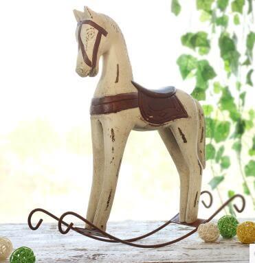 創意家居木馬擺件zakka工藝品電視櫃擺設復古做舊裝飾品北歐搖馬