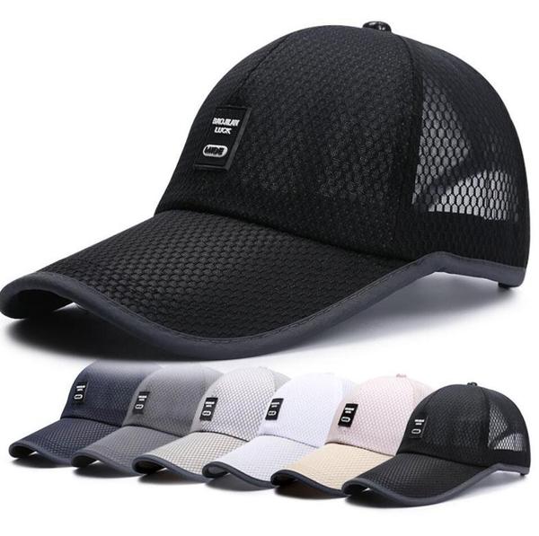 帽子男士夏天鴨舌帽戶外防曬遮陽帽男透氣涼太陽帽釣魚網帽棒球帽