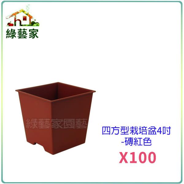 【綠藝家】四方型栽培盆4吋-磚紅色(厚) 100個/組