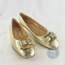 BRAND楓月 Salvatore Ferragamo SF 金色 金蔥 經典蝴蝶結 娃娃鞋 平底鞋 美規#6 C楦