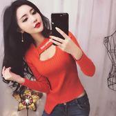 韓版性感女裝鏤空字母短款修身打底毛衣緊身針織衫