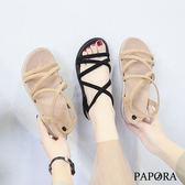 PAPORA羅馬後拉鍊平底涼鞋KQ2363黑/米(偏小)