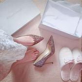 跟鞋 銀色尖頭高跟鞋細跟漸變亮片中跟單鞋水晶伴娘新娘婚鞋女 綠光森林