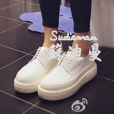 女鞋繫帶休閒皮鞋鬆糕跟厚底PU漆皮單鞋黑銀白色 【蘇迪蔓】