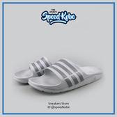 ADIDAS 拖鞋 Duramo Slide 基本款 海灘鞋 防水 淺灰深灰條 男女 B44298【Speedkobe】