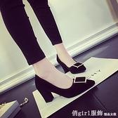 中跟鞋 2021春季新款韓版淺口粗跟尖頭方扣絨面高跟鞋黑色中跟百搭單鞋女 618購物節