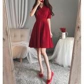 大碼女裝2019夏裝新款洋氣胖妹妹紅色減齡微胖遮肉顯瘦胖mm連身裙聖誕交換禮物